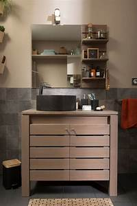 Meuble Salle De Bain Noir Et Bois : meuble salle de bain les nouveaut s du moment c t maison ~ Teatrodelosmanantiales.com Idées de Décoration