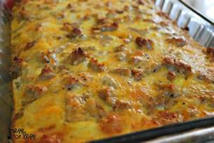 breakfast bake recipe sausage egg and biscuit breakfast casserole food fun friday mess for less