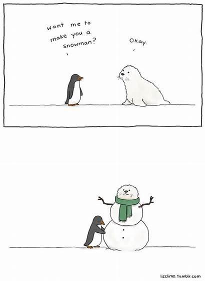 Climo Liz Comics Funny Animal Snowman Penguin