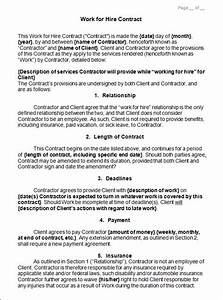 sample work for hire contract sample contracts With sample work for hire agreement template