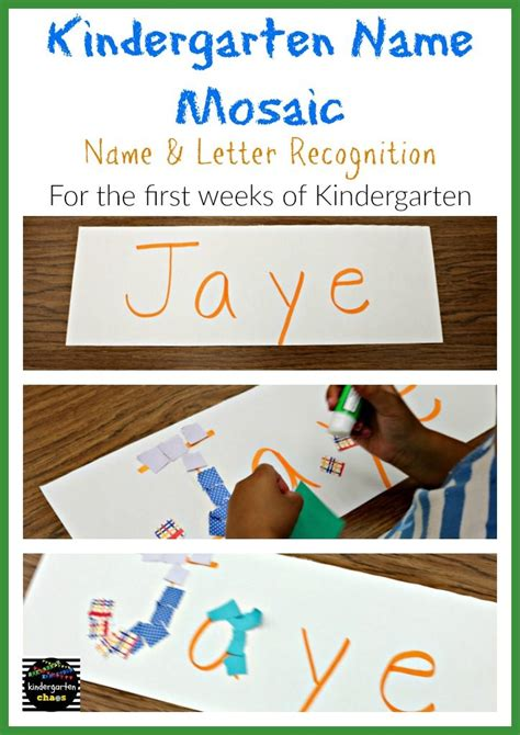 20 free name activities for the week of kindergarten 214 | Kindergarten Name Mosaic for the First Weeks of Kindergarten kindergartenchaos.com 724x1024
