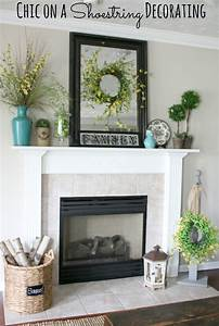Chic, On, A, Shoestring, Decorating, Summer, Mantel, Featuring, Turquoise, Yellow, And, Green