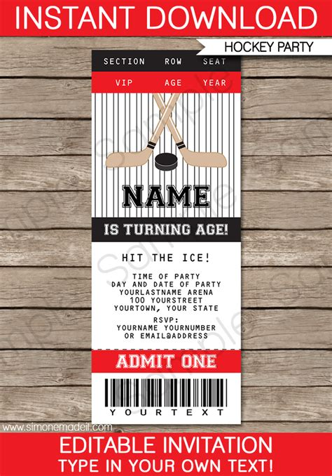 Hockey Party Ticket Invitations Birthday Party Template