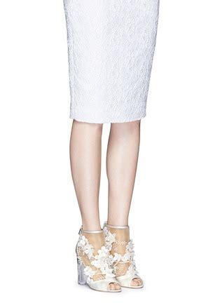 Paul Andrew   'bijoux' Floral Appliqué Mesh Satin Sandals