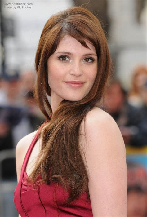 gemma arterton side swept long hair   easy