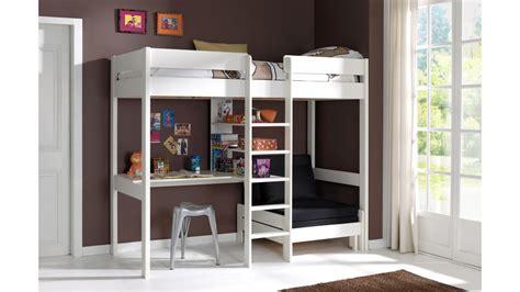 bunk beds with desk lit mezzanine avec bureau et fauteuil en pin massif