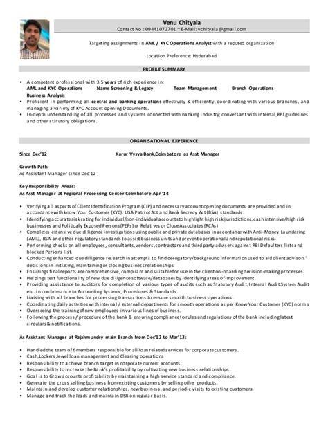 Kyc Analyst Resume by Professional Kyc Analyst Templates To Showcase Your Talent Kyc Analyst Cv Sle Myperfectcv