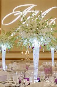 Fairy Lights In Hurricane Vase White Orchids Wedding Centerpiece Idea Wedding