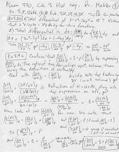 Physical Chemistry I 330 Homework Key Ch  3