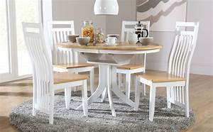 Hudson White Two Tone Round Extending Dining Room Table