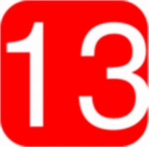Red, Rounded, Square With Number 13 Clip Art at Clker.com ...
