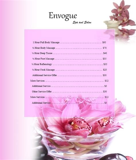 Free Template For by 10 Free Sle Spa Price List Templates Printable Sles