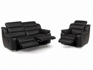 Canape et fauteuil relax electrique cuir arena for Canape cuir relax electrique