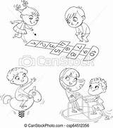 Park Playground Coloring Hopscotch Recreation Zone Games Children Place Clipart Rocking Carousel Riding Ride Horse Spring Boy sketch template