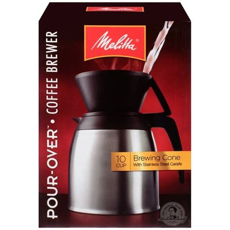 The coffee is encapsulated in a mesh filter cup which other coffee brewers. Shop Melitta Coffee Maker, 10 Cup Pour- Over Brewer with Stainless Thermal Carafe, 2 Pack - Free ...