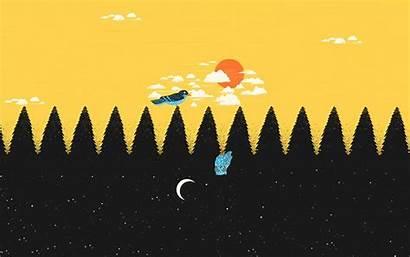 Negative Space Birds Moon Sun Night Trees