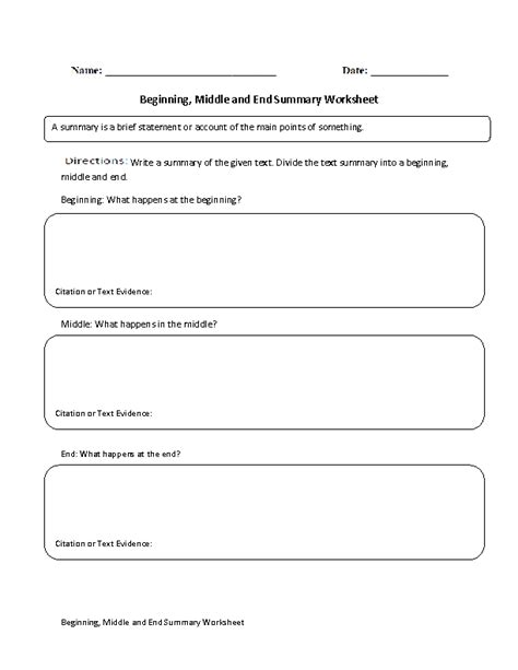 beginning middle and end summary worksheet englishlinx