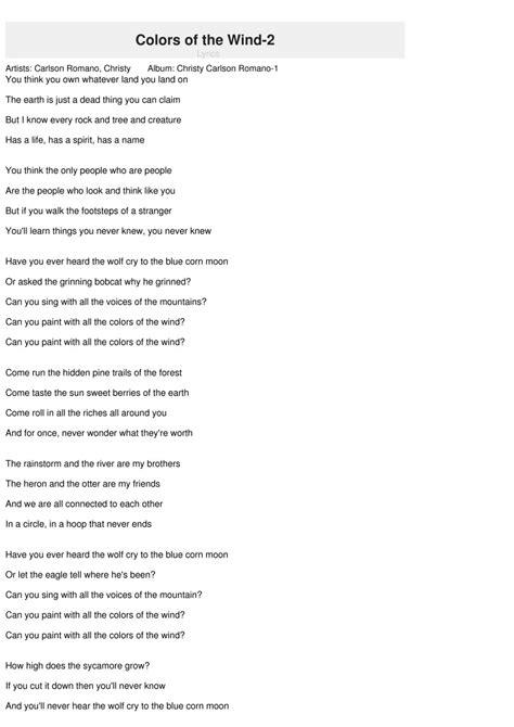 the colors of the wind lyrics lyrics colors of the wind colors of the wind lyrics 25