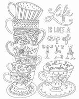 Coloring Tea Cup Stack Cups Canvas Printable Adult Coffee Floral Teacups Mandala Adults Sheets Quote Doodle Colouring Stacked Template Mail sketch template