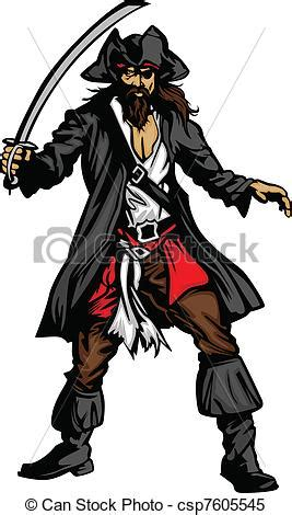 pirate mascot standing  sword pirate captain holding