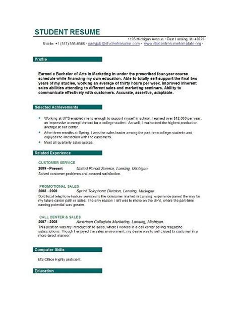 Resume Objective For Student best solutions sle resume objectives for college