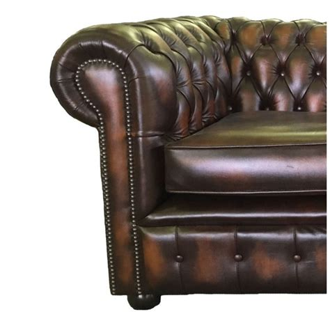 chesterfield sofa brown leather chesterfield antique brown genuine leather two seater sofa