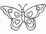 Butterfly Coloring Pages Printable Butterflies Simple Filminspector Outline Heart Flower Templates Hearts sketch template