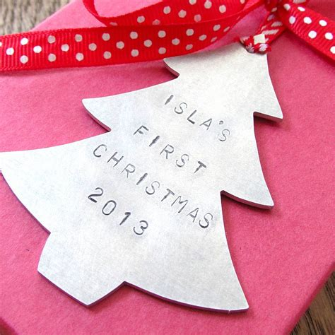 babys first christmas decoration baby s metal tree decoration by edamay notonthehighstreet