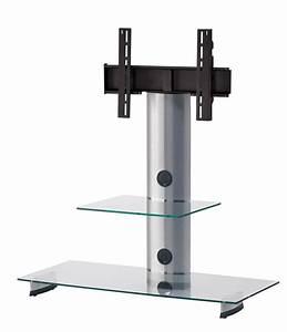 Meuble Avec Support Tv : sonorous meuble tv pl2200 c slv verre claire argent avec ~ Dailycaller-alerts.com Idées de Décoration