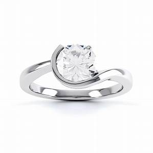 asymmetrical round solitaire diamond engagement ring With asymmetrical wedding rings