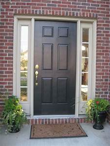 Black Front Door With White Sidelights