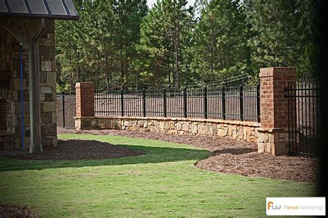 decorative concrete pillars metal fencing fence workshop