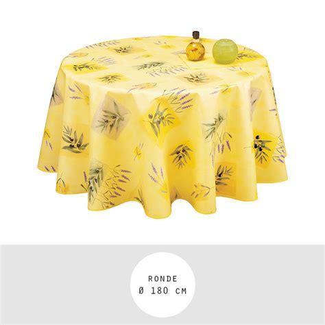 nappe toile cire ronde diamtre 180 cm frjus jaune provence olives et lavande