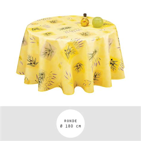 nappe toile ciree ronde 180 cm nappe toile cire ronde diamtre 180 cm frjus jaune provence olives et lavande