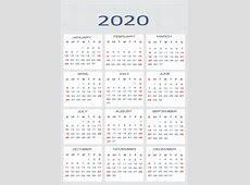 Calendário de vetor para 2020 — Vetor de Stock © mitay20