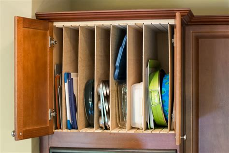 sheet storage above cookie oven tray kitchen diy cabinet cabinets trays sheets vertical organizer adding organizers cutting organization baking dividers