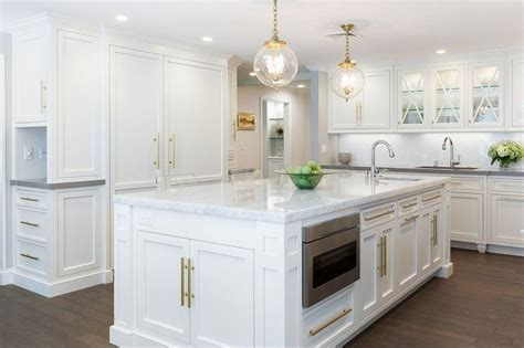 Gray Island with Brass Pulls   Contemporary   Kitchen