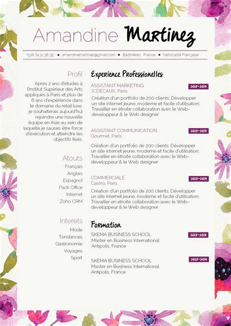 Exemple Pour Cv by Cv Printanier Pour Un Cv Original Et Rebooster Vos