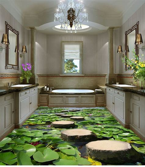 lilypad pond stone stage fish floor decals  wallpaper