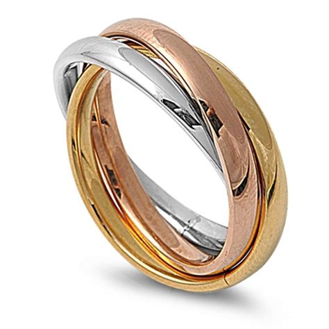 316l stainless steel tricolour russian rolling wedding trinity ring ebay