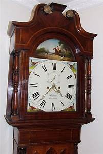 Antique, Grandfather, Longcase, Clock, Topham, Nantwich, Hunting, Scene, To, Arch, U0026, Pheasants, To