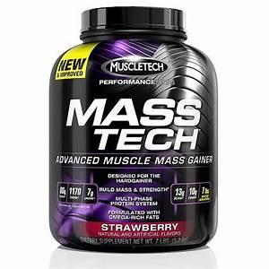 Muscletech Mass Tech Gainer Protein Powder  Strawberry  60g Protein  7 Lb