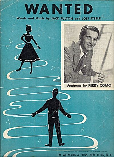 perry como wanted wanted perry como 1954 sheet music of the 1950 s