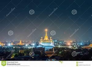 Famous Wat Saket (Golden Mount) In Night At Bangkok ...