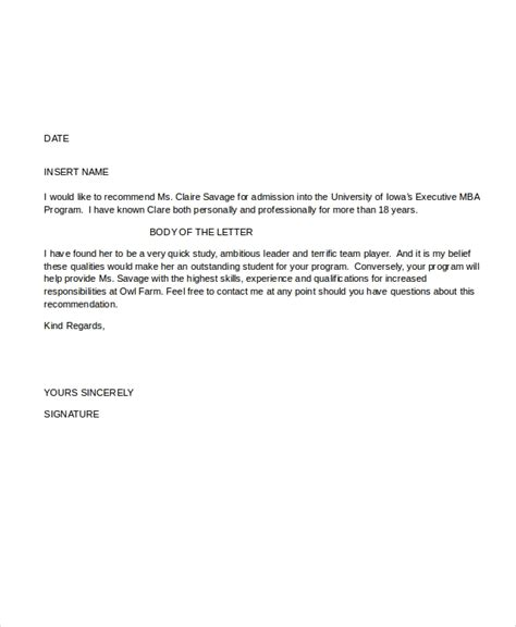 letter  recommendation format   word