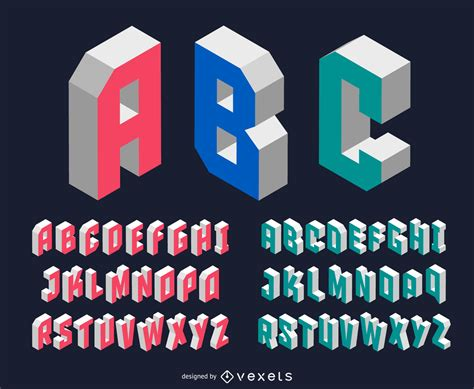 Modern Isometric Font  Vector Download