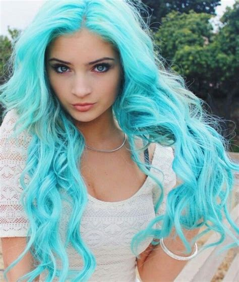 Bright Turquoise Blue Pastel Dyed Hair Color Dyed Hair