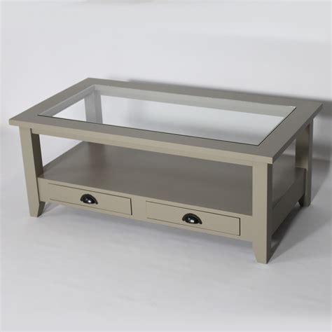 spécialiste canapé table basse bois massif taupe avec plateau en verre made