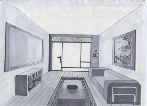 Drawn Room One Point Perspective  Pencil And In Color