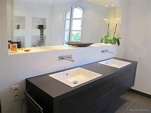 Meuble salle de bain 160 cm wasuk for Salle de bain design avec castorama lavabo a poser